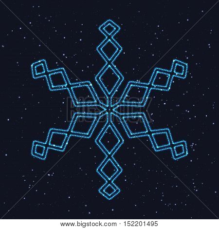 Christmas Glowing Blue Snowflake. Design Element of Celebratory Decor.