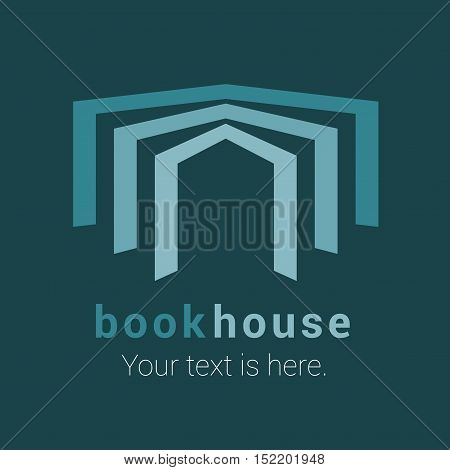 Bookstore bookshop library vector emblem sign symbol logo icon. Graphic design element with open book for book store book shop ebooks. Publishing and studying business concept