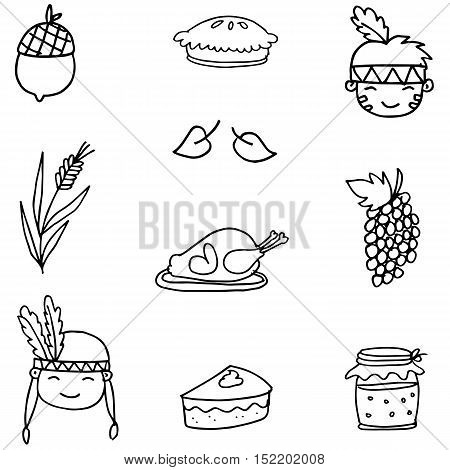 Hand draw thanksgiving object on doodles vector art