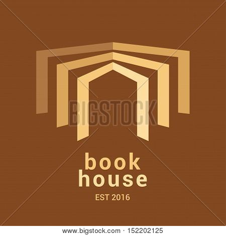 Bookstore bookshop library vector sign icon symbol emblem logo. Minimalistic graphic design element with open book for book store e-books