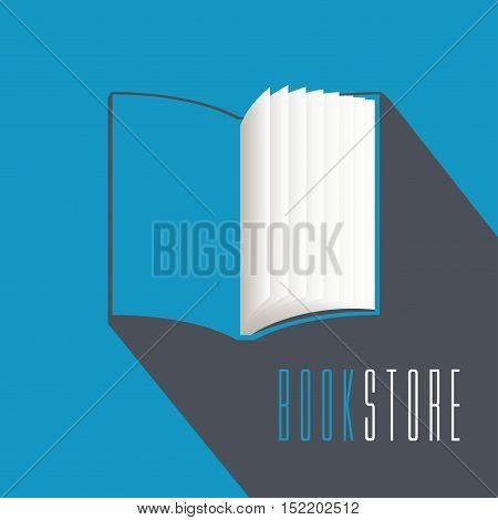 Bookstore bookshop library vector emblem sign symbol logo icon. Template design element with open book for business related to books. Publishing and studying business concept