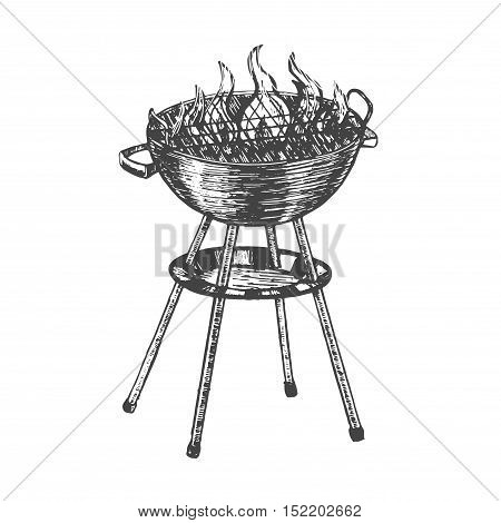 Barbecue Hand Draw Sketch. Charcoal Kettle Grill. Summer Food for Picnic, Weekend. Vector illustration