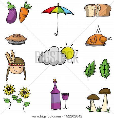 Doodle of thanksgiving element set vector art
