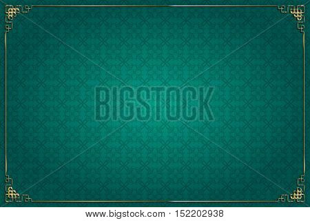 Turquoise Chinese Background And Gold Decoration