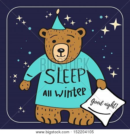 Brown Bear Cartoon Character. Sleep all winter. Good night background with stars