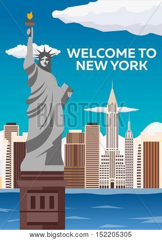 Travel To Usa, New York Poster Skyline. Welcome To New York. Statue Of Liberty. Vector Illustration.