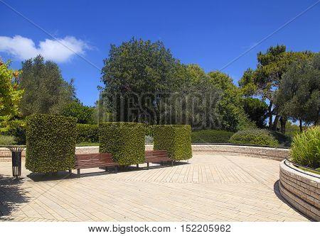 Garden bench between boxwoods in Park Ramat Hanadiv, Zichron Yaakov, Israel