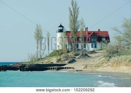 Point Betsie Lighthouse, built in 1858, Lake Michigan, MI, USA