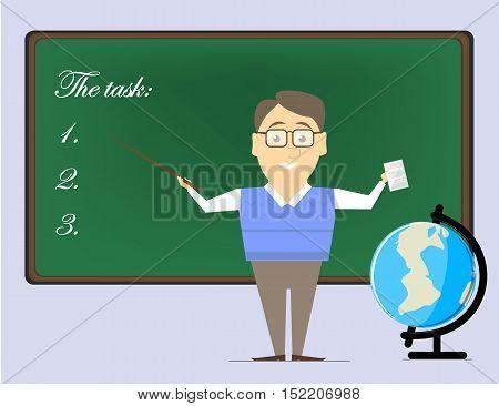 Teacher man points to the school board. Teacher job. Vector flat