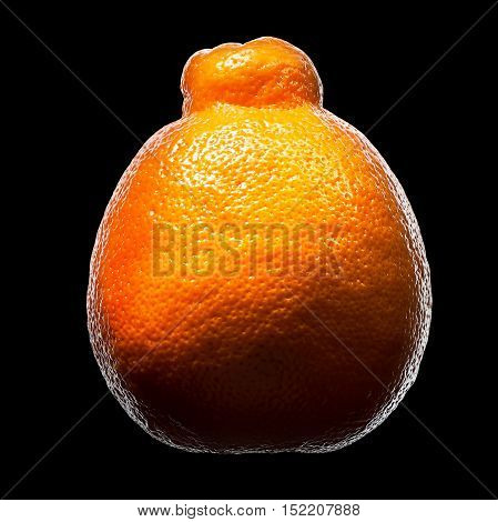 Mandarin, tangerine citrus fruit isolated on black background. With clipping path.