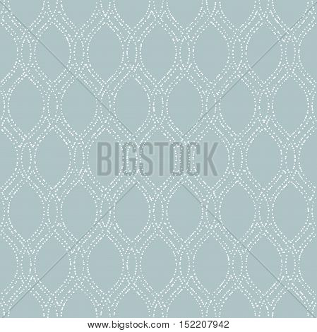 Seamless vector ornament. Modern geometric pattern with repeating white dotted wavy lines