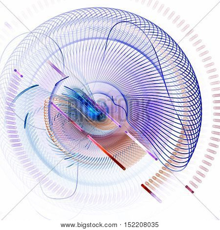 Springs extraterrestrial mechanism. Brain droid. 3D surreal illustration. Sacred geometry. Mysterious psychedelic relaxation pattern. Fractal abstract texture. Digital artwork graphic astrology magic