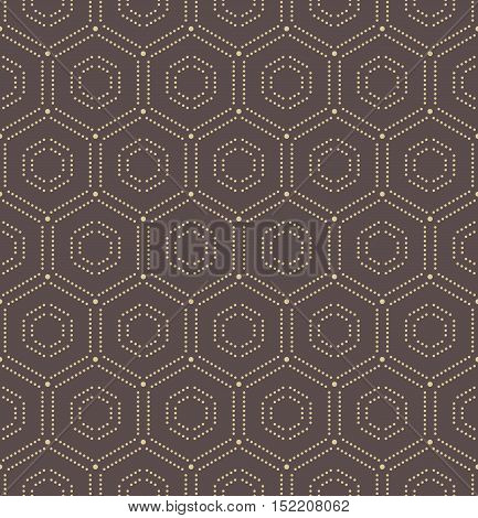 Geometric repeating vector ornament with hexagonal dotted golden elements. Seamless abstract modern pattern