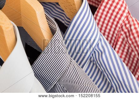 Shirts in different several colors and textures