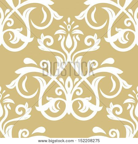 Seamless classic vector golden and white pattern. Traditional orient ornament