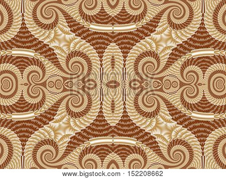 Symmetrical Pattern from Spiral fractal. Beige and brown palette. Computer generated graphics.