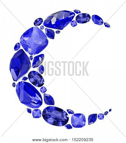 crescent shape symbol from blue sapphire gems isolated on white background
