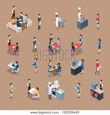 Set of restaurant personnel, customers icons. Vector in isometric projection. Waiter at the table, visitors eating and ordering dinner, chef cooks in kitchen, barman making coffee. For ad, app, game
