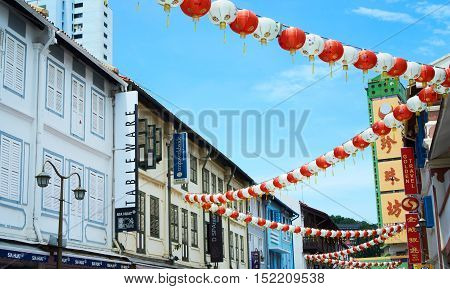 singapore, singapore - october 16, 2016:  View of Chinatown, an ethnic neighbourhood featuring distinctly Chinese cultural elements and a historically concentrated ethnic Chinese population.