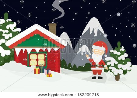 Santa at home. Beautiful scene of Santa Claus near christmas house in snow. Dark sky with stars. Winter landscape with mountains and snow.