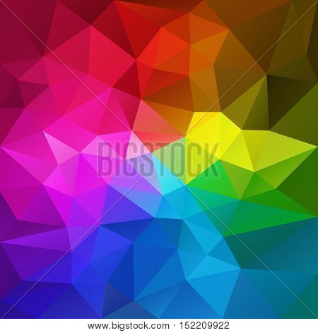 vector abstract irregular polygon background with a triangular pattern in rainbow full spectrum colors