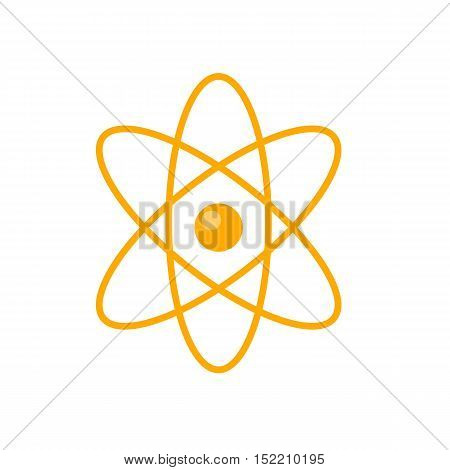 Atom core with electrons orbits vector in flat style design. Nuclear power.  Illustration for scientific and educational concepts. Quantum physics. Microscopic particle. Isolated on white background
