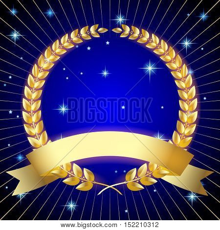 Gold laurel wreath with a ribbon on dark blue starry background. Premium and anniversary symbol. Contains the Clipping Path