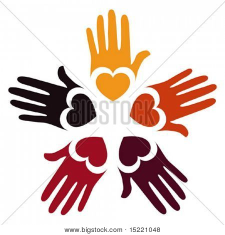 Colorful loving hands vector.