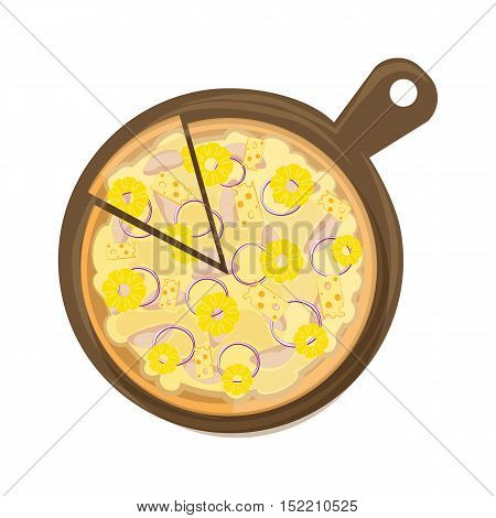 Isolated hawaiian pizza on wooden board on white background. Tasty and fresh italian fast food. Pizza with cheese, ham and pineapples.