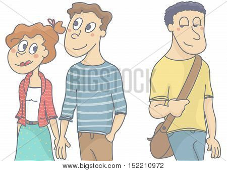 Young love couple walking, woman looking and flirting with another man passing by. Vector illustration of female infidelity.