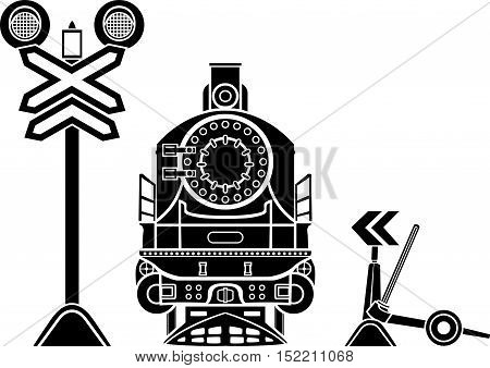 Railway stencils, semaphore, locomotive and railway switch