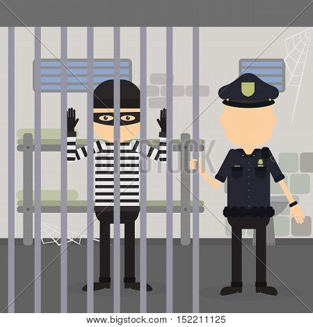 Thief in jail. Police officer and robber in the police station. Crime and punishment.