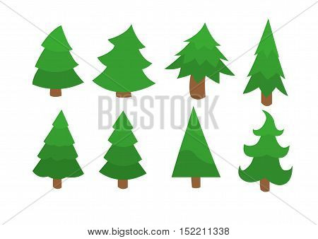 eight different green trees for a Christmas theme