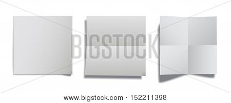 Realistic assorted paper folded sheets. Vector illustration.