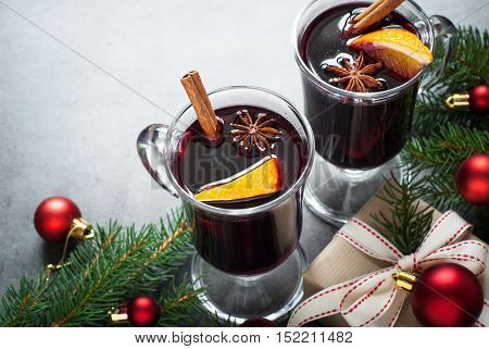 Winter hot drink. Christmas Mulled wine in the glasses.