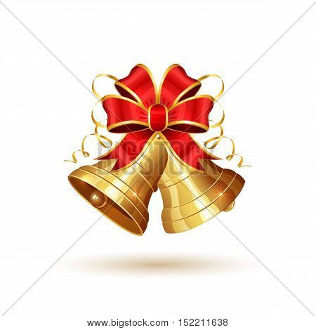 Golden Christmas bells with red bow, isolated on white background, holiday decoration, illustration.