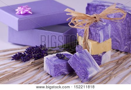 Home made natural violet soap with lavender - handmade
