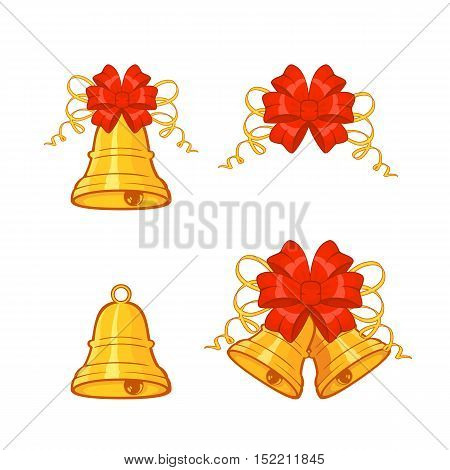 Set of Christmas bell icons with red bow, isolated on white background, holiday decoration, illustration.
