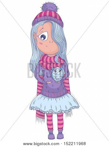 Cute anime girl in tutu and winter clothes with owl. Cartoon character. Vector illustration