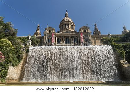 BARCELONA, SPAIN - JULY 12, 2016: Barcelona (Catalunya Spain): the hill of Montjuich and the Museum of Catalan Art and fountain