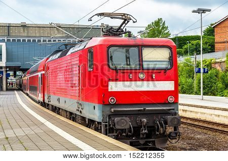 Regional express train at Lubeck Main Station - Germany