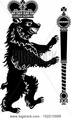 Heraldic bear full height, crown and scepter, stencil