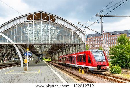 Lubeck, Germany - July 19, 2016: Regional train at Lubeck Main Station