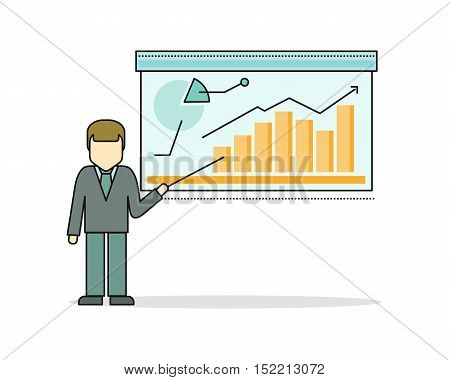 Businessman in business suit making a presentation near whiteboard with infographics. Shows business graphs. Business seminar. Business consulting, business strategy concept.