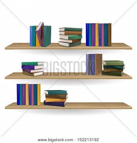 Vector illustration of bookshelves on white background