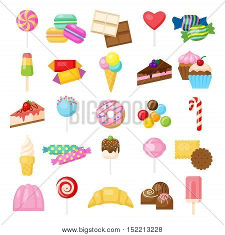 Tasty sweets set. Isolated candies, cakes and other sweets on white background. Doughnuts, cheesecake, ice cream, lollipop and more.