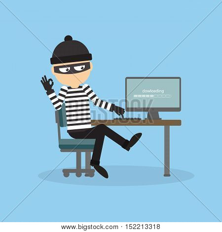 Robber at the office. Bad thief downloading information from computer. Man in the black mask and striped outfit.