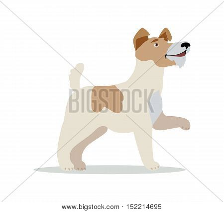 Smooth Fox Terrier dog breed isolated on white. Wire Fox Terrier. Jack Russell Terrier, Miniature Fox Terrier and Rat Terrier. Cartoon puppy. Home pet. Child fun pattern icon. Vector illustration
