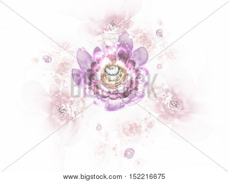 Abstract colorful pink and beige flowers on white background. Fantasy fractal design for posters or t-shirts. Digital art. 3D rendering.