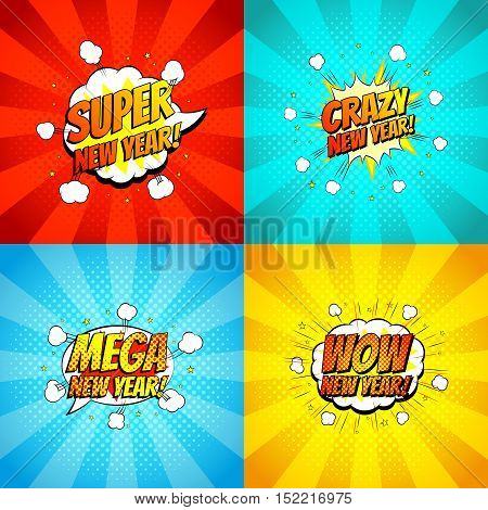 Collection of happy new year backdrops. Decorative set of comic backgrounds for happy new year with bomb explosive in pop art style. Vector illustration.